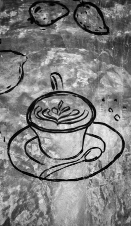 grafiti: Food and drink texture on the wall Stock Photo