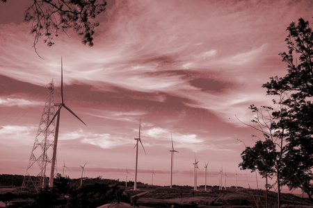 onshore: Wing turbines in the sunset