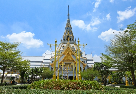 Great gray church in Chacherngsao province. Thailand photo