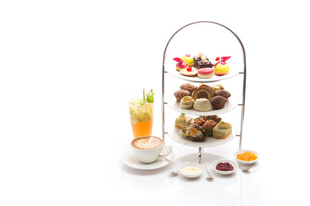 Afternoon tea on white background