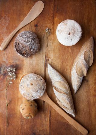 Bread Breakfast on wooden background