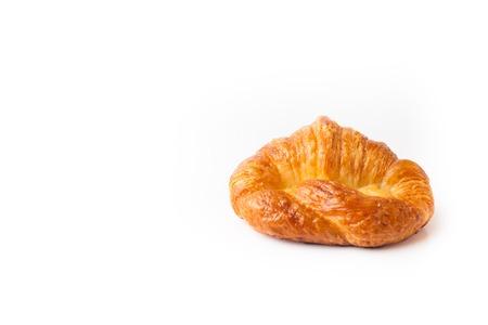 Fresh croissant on white background, breakfast Foto de archivo