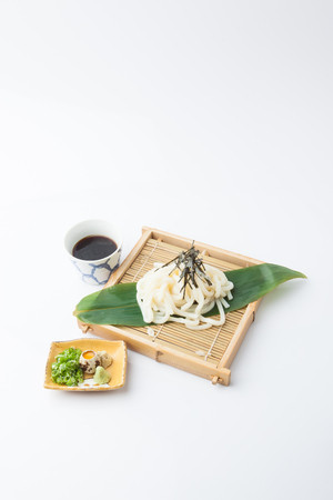Japanese udon, food on white background