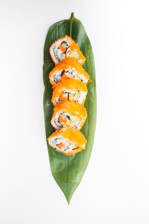 California Roll, Rice roll of crab sticks, avocado and cucumber, Japanese food Imagens