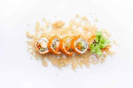 Crunchy Roll, Rice roll of prawn tempura with spicy miso sauce, Japanese food