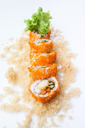 Crunchy Roll, Rice roll of prawn tempura with spicy miso sauce, Japanese food 免版税图像 - 121086024