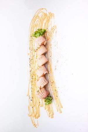 Griled Salmon Roll, Rice roll of Japanese smoke salmon. Jpanese food Imagens
