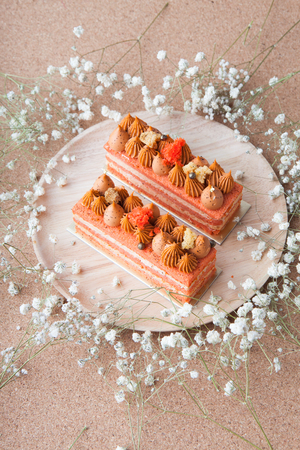 Cake pieces decorated with flowers Stock Photo