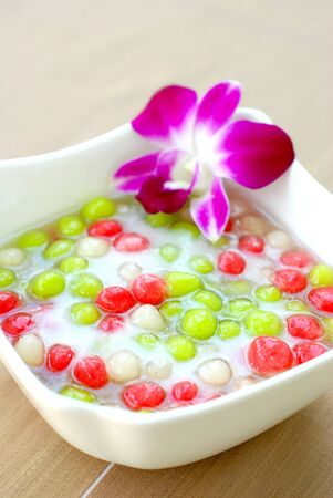 Glutinious Dumpling-bua loi-Thai dessert Stock Photo