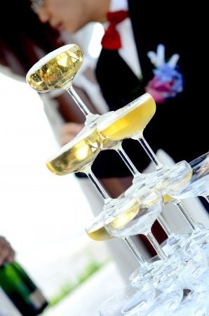 champagne tower at wedding Stock Photo