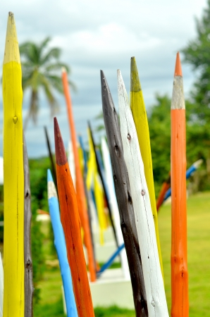 Colorful giant pencils