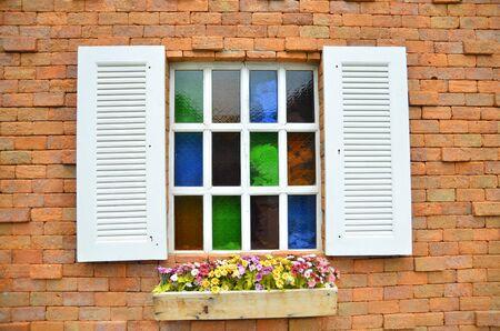 objec: Window on brick wall