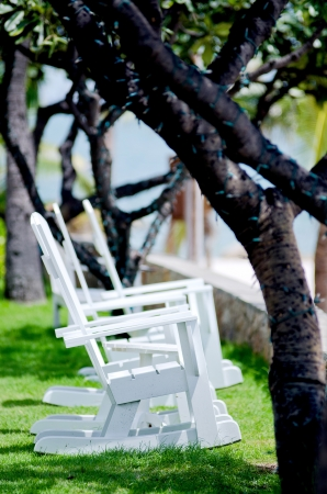 Beachchairs on the Garden Stock Photo