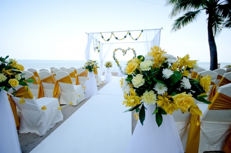 Wedding setting on a tropical beach Stock Photo