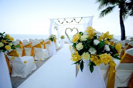 Wedding setting on a tropical beach Stock Photo