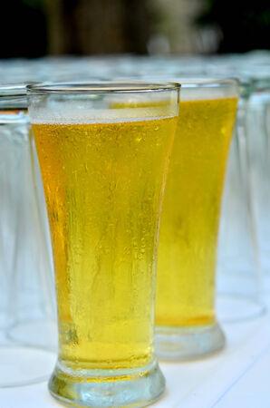 pilsner beer glass: Pints of Beer on an Outdoor Patio Stock Photo