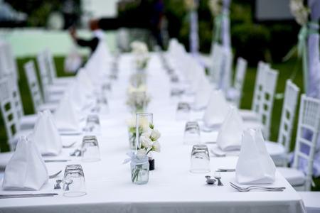 dinner table setup Stock Photo