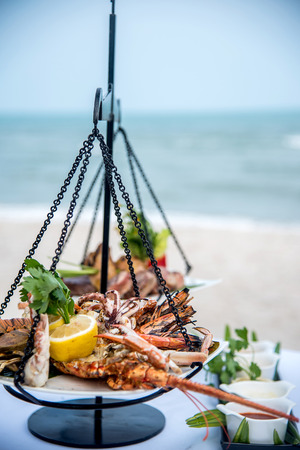 ready to eat seafood on the beach