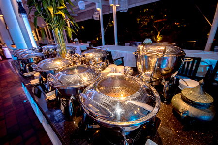 breakfast hotel: Buffet Table with Row of Food Service Steam Pans