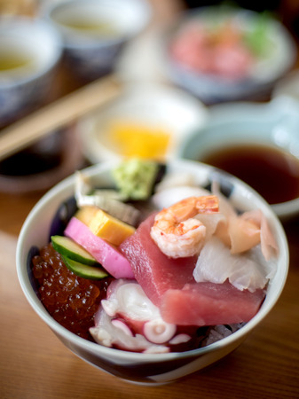tobikko: Selective focus on food in bowl and blur effect on background