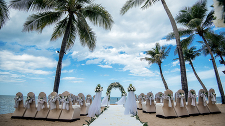 Wedding setting,beach wedding,wedding chairs Stock Photo