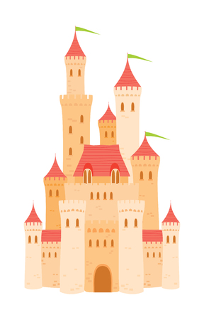 Old cartoon castle with orange walls and towers on white background Illustration