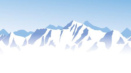 Blue mountain range panorama - border background