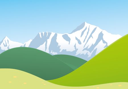 Landscape with mountain and hills Illustration