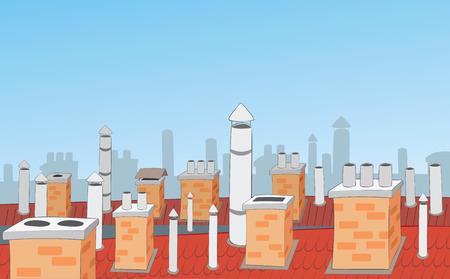 Schoorstenen op de daken van stadshuizen
