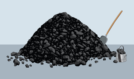 Pile of coal with shovel and bucket Çizim