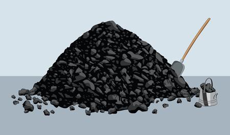 Stos węgla z łopatą i wiadrem Ilustracje wektorowe