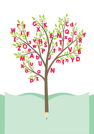 Tree with alphabet letters - education and literature concept Illustration