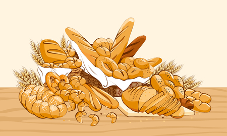 Bakery products basket with bread and other pastries Illustration