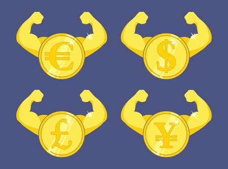 Strong currency icon. Coin with strong arms �?? increasing currency concept Illustration