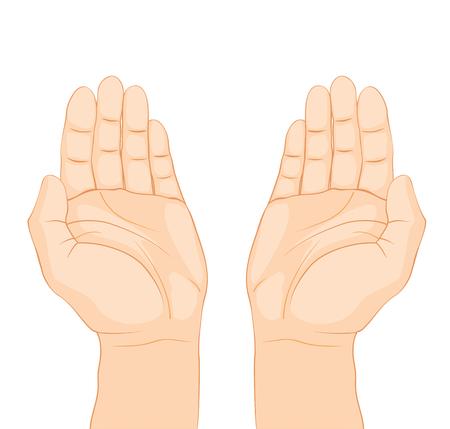 Open hands prayer on white background - dua
