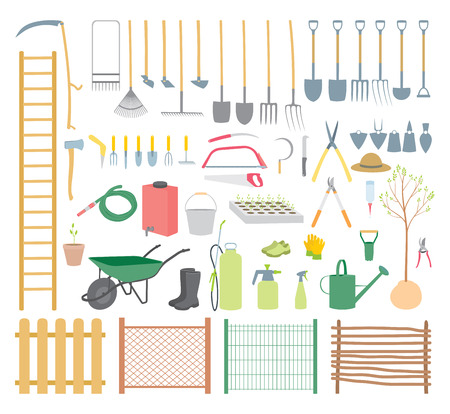 grass blades: Garden tools set - various agricultural tools for garden Illustration