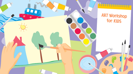 Art workshop for kids. Kids craft painting - education and enjoyment concept