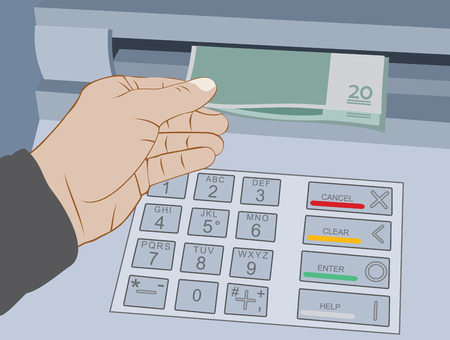 Hand take cash out from ATM - withdrawal money on the cash machine. Vector illustration