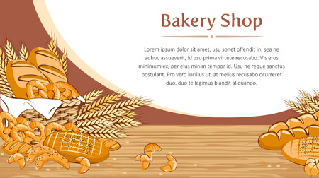 Bakery background with bread and other pastries. Vector illustration