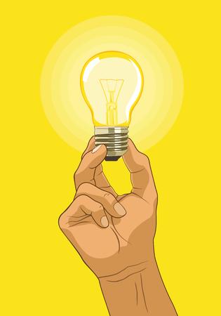 Light bulb hold in hand - idea concept. Vector illustration