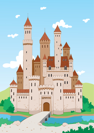 Medieval castle. Old castle with walls, towers and bridge on river. Vector illustration Иллюстрация