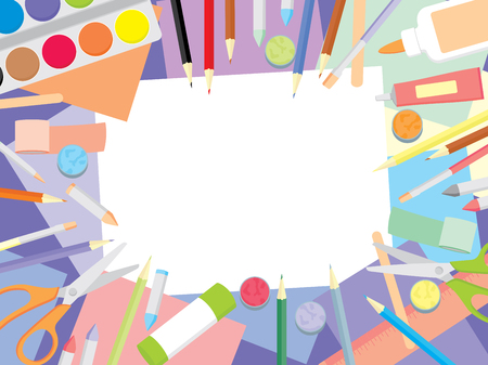 Kids craft supplies background - education and enjoyment concept. Art workshop for kids top view background.