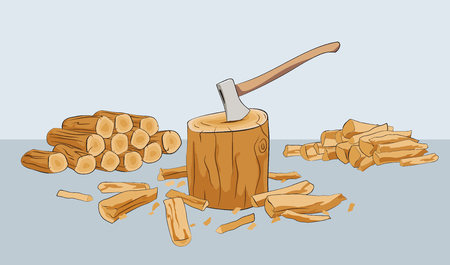 Chopped firewood logs with stump and axe. Vector illustration