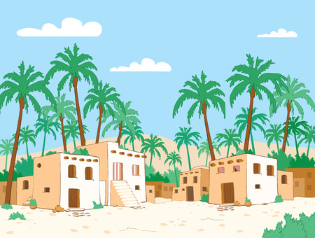 Desert village with palm tree in oasis. Vector illustration Иллюстрация