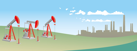 Oil pump on field with refinery - petroleum industry equipment. Vector illustration