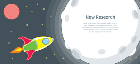 Rocket in mission of research and explore new planet concept - business start up. Vector illustration