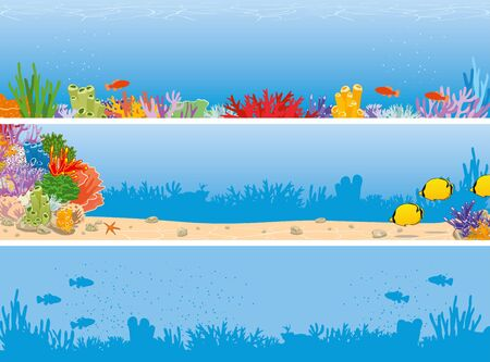 Sea reef underwater banner with corals and fish. Vector illustration
