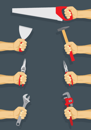 Tools in workers hand set - do it yourself project. Vector illustration