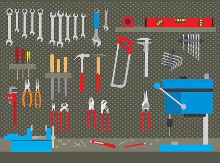 Workshop with various tools. Repair and construction tools collection in workshop - do it yourself project Illustration
