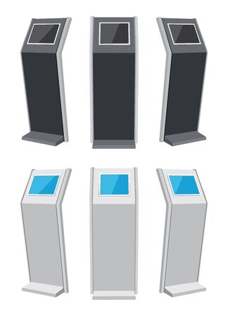 Touch screen stand from different sides. Vector illustration Иллюстрация